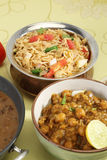 Indian Pulav or Vegetable Pulao with Chana Masala and Dal Makhan Stock Image