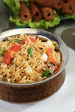 Indian Pulav or Vegetable Pulao with Chana Masala and Dal Makhan. I Royalty Free Stock Photo