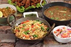 Indian Pulav or Vegetable Pulao with Chana Masala and Dal Makhan. I Royalty Free Stock Photos