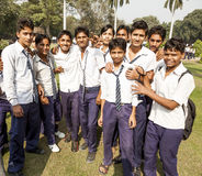Indian pupils on a class outing in Delhi Stock Image