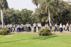 Indian pupils and their teacher on a class outing in Delhi Stock Image