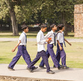 Indian pupils visit Humayun's Tomb in Delhi Royalty Free Stock Images