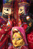 Indian puppets. Indian craft-made puppets on sale at a tourist shop in Kerala Stock Images