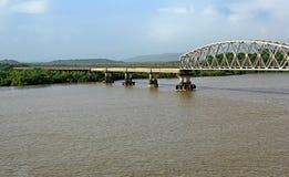 Indian Railway Bridge across River Royalty Free Stock Photo