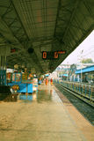 Indian railway platform. Empty platform of the Siliguri junction station, West Bengal, India on February 12, 2017 Stock Image