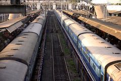Indian Railway station. Parallel trains in an Indian Railway station Stock Photos