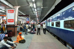 Indian Railway Station. People waiting in Jaipur Railway Station in India Stock Images