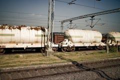 Tank cars in railyard. Indian railway. Tank cars in railyard Stock Photo
