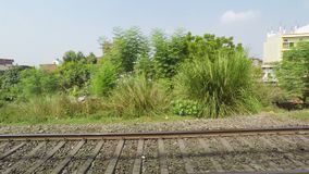 Indian Railway, Train Track and Landscape, India, Time Lapse. Indian Railway  Train Track and Landscape, India, Time Lapse stock video footage