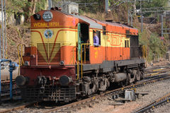 Indian Railways Diesel Locomotive. MANGALURU, INDIA - MARCH 18, 2017: A WDM-2 diesel locomotive of the Indian Railways which is the state-owned railway company Royalty Free Stock Photo