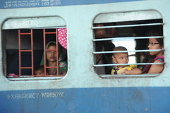 Indian railways, ladies carriage. Royalty Free Stock Photo