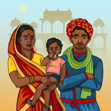Indian rajasthani family. Indian rajasthani gujarati family. Mother father and cute baby Stock Photo