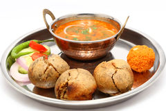 Indian Rajasthani traditional Dal Bati thali Royalty Free Stock Photos