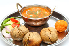 Indian Rajasthani traditional Dal Bati thali.  Royalty Free Stock Photos
