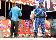 Indian rapid action force police keep watch on law and order situation during Bonalu hindu festival Royalty Free Stock Photo