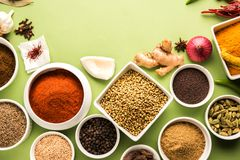 Indian Raw  Spice Powder in white bowls over red or yellow or green background, selective focus Stock Photos