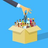 Indian Recruitment Hand Picking Business Person Candidate Box India People Crowd Man Woman Human Resources Royalty Free Stock Photography