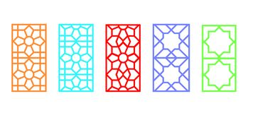 Indian rectangle window frame with islamic pattern. Vector art Stock Photos