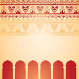 Indian red and cream henna temple card vector illustration
