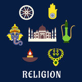 Indian religion and culture flat symbols Royalty Free Stock Images
