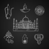 Indian religion and culture symbols Royalty Free Stock Image