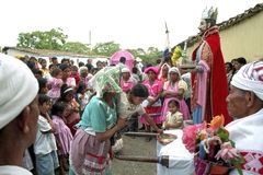 Indian Religious ritual give money for San Pedro royalty free stock photo
