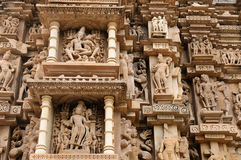 Indian religious symbols on temples in Khajuraho Royalty Free Stock Photos