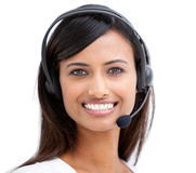 Indian representative with earpiece on Stock Image