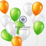 Indian Republic day background. Indian Republic day holiday background. Celebration poster or banner, card. Three color balloons. Vector illustration royalty free illustration
