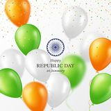 Indian Republic day background. Indian Republic day holiday background. Celebration poster or banner, card. Three color balloons with confetti. Vector vector illustration