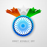 Indian Republic Day celebration with Ashoka Wheel and 3d stars. Shiny Ashoka Wheel with 3D national flag color stars on shiny grey background for Indian Stock Image