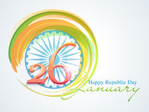 Indian Republic Day celebration with Ashoka Wheel. 3D text 26 January on Ashoka Wheel and national flag colors for Happy Indian Republic Day celebration Royalty Free Stock Photos