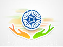 Indian Republic Day celebration with Ashoka Wheel and hands. Stock Image
