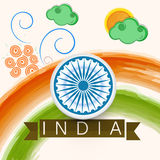 Indian Republic Day celebration with Ashoka Wheel. Royalty Free Stock Photo
