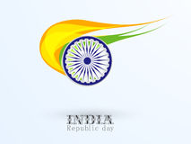 Indian Republic Day celebration with Ashoka Wheel and national f Royalty Free Stock Image