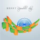 Indian Republic Day celebration with Ashoka Wheel and national f Royalty Free Stock Photography