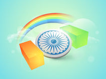 Indian Republic Day celebration with Ashoka Wheel and rainbow. Indian Republic Day celebration with 3D Ashoka Wheel, national flag color bricks and rainbow in Royalty Free Stock Image