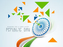 Indian Republic Day celebration with Ashoka Wheel, triangles and Royalty Free Stock Photo