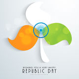 Indian Republic Day celebration with beautiful flower. Royalty Free Stock Images