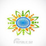 Indian Republic Day celebration with beautiful rangoli and Ashok Royalty Free Stock Image