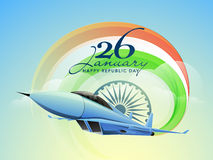 Indian Republic Day celebration concept. Happy Indian Republic Day celebrations with text 26 January, Ashoka Wheel and fighter airplane making national Royalty Free Stock Photography
