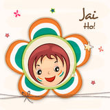 Indian Republic Day celebration with cute girl face. Cute little girl face in national tricolor flower with Hindi text Jai Ho (Let the victory prevail) for Stock Photos
