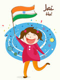 Indian Republic Day celebration with cute girl. Cute little girl holding Indian National Flag with Hindi text Jai Ho (Let the victory prevail) for Republic Day Stock Image