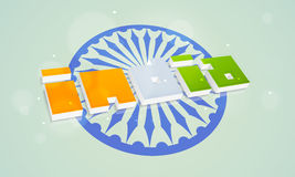 Indian Republic Day celebration with 3D text. 3D national flag color text India with Ashoka Wheel on shiny sky blue background for Indian Republic Day Royalty Free Stock Photos
