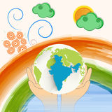 Indian Republic Day celebration with globe. Royalty Free Stock Images