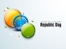 Indian Republic Day celebration with glossy balls and Ashoka Wheel. Stock Images