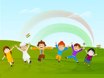 Indian Republic Day celebration with little kids. Stock Photos