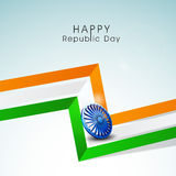 Indian Republic Day celebration with national tricolor stripes a. Stylish 3D stripes in national flag color with Ashoka Wheel for Indian Republic Day celebration Royalty Free Stock Images