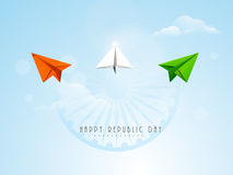 Indian Republic Day celebration with paper plane and ashoka whee Royalty Free Stock Photo