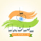 Indian Republic Day celebration poster with beautiful text. Royalty Free Stock Image